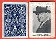 1 Single Swap Playing Card EXTRA JOKER M51 BICYCLE CHAS LEEDY NEWSPAPER ANTIQUE