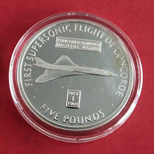 CONCORDE 2006 GIBRALTAR SILVER PROOF £5 CROWN - first supersonic flight