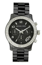 NEW MICHAEL KORS LADIES BLACK CERAMICA CRYSTALS WATCH MK5190 - 2 YEARS WARRANTY