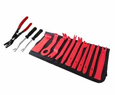 12PC CAR BODY DOOR PANEL MOULDING TOOLS + TRIM CLIP REMOVAL PLIERS + 2 X PRY BAR
