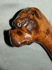 ANTIQUE BOXER DOG HEAD GLASS EYES SILVER WALKING STICK CANE