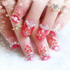 24pcs Party 3D Flower Beads False Artificial Fake Nails Tips French Cute Finger