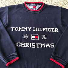 VTG Tommy Hilfiger Christmas Flag SPELL OUT Snowflake Knit Sweater Mens Small