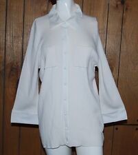 Talbots Womens Shirt White 3/4 Sleeves Ribbed Knit Buttons Cuff Plus 2X NWT$70