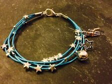 Silver Plated Star Cord Bracelet Pendant Charms Christmas Deer Blue