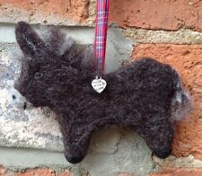 Handmade Needle Felted Brown Donkey Decoration, Unique Gift, Dry felt, Handcraft