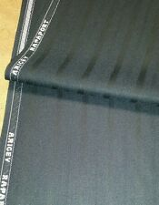 120'S English Wool Suit Fabric  Blue with Black Satin Stripes By The Yard