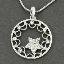 W Swarovski Crystal Star Sun Moon Circle New Pendant Necklace Jewelry Gift