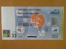 WORLD CUP FRANCE 98 TICKET / ITALY AUSTRIA MATCH 33 STADE DE FRANCE JUNE 23rd