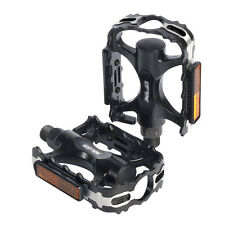 "Black New 1Pair Mountain Road BMX Bike 9/16"" Flat Pedals w/ Light Reflector ab"