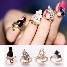 Women New Fashion Rhinestone Flower Heart Tip Finger Knuckle Nail Art Rings PM