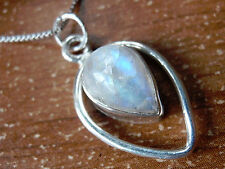 Rainbow Moonstone Pendant 925 Sterling Silver Teardrop in Hoop Pear Shape 619ha