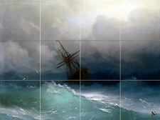Art Storm Ocean Sailboat Ceramic Mural Backsplash Bath Tile #2145