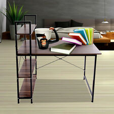Office Wooden Computer Table Student PC Workstation Laptop Desk With Bookshelf