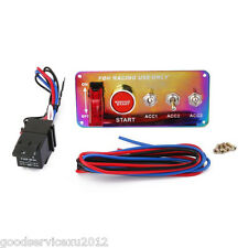12V Colourful Chrome Panel Autos Engine Ignition Start Push Button Toggle Switch