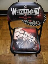 Roman Reigns and Paige Signed WrestleMania 31 Signed Ringside Chair PSA AA57951