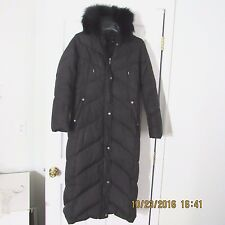 Utex Women's Black Quilt  Full Length Down Hooded Jacket Coat Petite Small