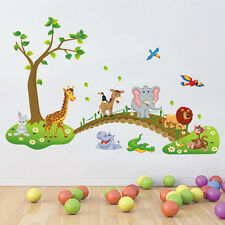 Cartoon Animal Bridge Wall Stickers Removable Children Room Art PVC Decal Murals