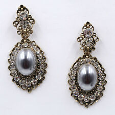 ANTHROPOLOGIE SPARKLING RHINESTONES OVAL GREY PEARL DROP DANGLE EARRINGS – NEW