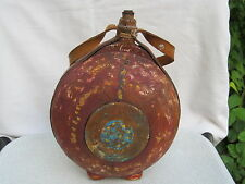 ANTIQUE PRIMITIVE OLD WOODEN HAND CARVED VESSEL CANTEEN BOTTLE