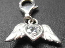 569E VINTAGE STERLING SILVER ANGEL WINGS WITH ZIRCONIA CHARM / PENDANT