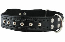 "Braided Studs Genuine Leather Dog Collar 19""-24"" neck 1.5"" wide German Shepherd"
