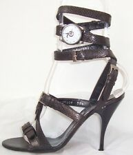 ALEXANDER MCQUEEN Black Bronze Leather Ankle Wrap Watch Sandals Shoes 37.5