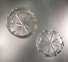 Two Bohemian Cut Crystal Nut Bowls - Spiral Star and Grape Pattern