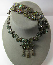 Vintage Sterling Silver Abalone Necklace Bracelet Set Taxco Mexico LS 81.2 GRAMS