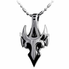 Silver Tone Stainless Steel Rock n' Roll Punk Cross Bull Pendant Men's Necklace