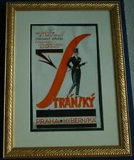 Vintage Original Watercolor & Ink Illustration Ad Stransky Clothing in Prague