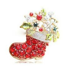 Beautiful Alloy Red Rhinestone Christmas Boot Gift Brooch Pin