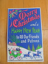 Vtg MERRY CHRISTMAS HAPPY NEW YEAR Department Store Display Sign FRIENDS PATRONS