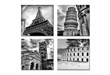 4 Wall Art Pictures Modern Photo Print Giclee Canvas Architecture Paris, FRAMED