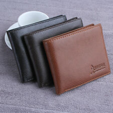 Men's Leather Wallet Card Holder Purse Pockets Bifold Money Clip Wallets Black