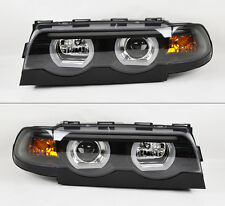 BMW E38 7 Series 1995-2001 Black Projector LED DRL Dual Halo Headlights Pair