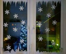 12 Fiocchi di Neve Natale Grandi Adesivi in Vinile Decalcomania Natale Decorazione da finestra 9x8cms