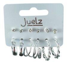 Card of 6 Pairs of Silver Crystal Stud and Hoop Earrings Ear Rings