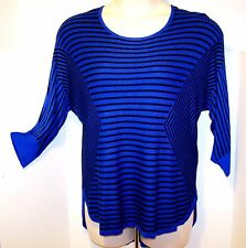 NEW $48 Tag DANA BUCHMAN Size EX LARGE Blue & Black BOAT NECK Sweater TOP ¾ Slee