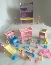 Barbie Mattel Nursery Play Set 28pcs 2 Babies Toys Crib Highchair Tricycle &More