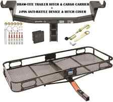 2014-16 JEEP CHEROKEE TRAILER HITCH + CARGO BASKET CARRIER + SILENT PIN LOCK TOW