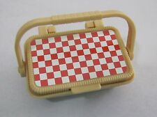 FISHER PRICE Loving Family Dollhouse PICNIC BASKET w/ FOOD LITHO Checkered Rare!