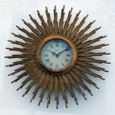 Sunburst Gold Wall Clock Vintage Retro Style Distressed 60's 70's