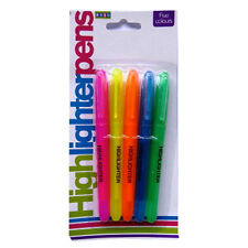 5 Fluorescent Highlighter Pens - (Blue, Yellow, Orange, Green, Pink) by Royle
