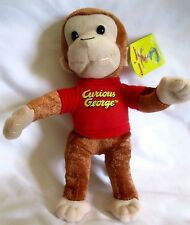 """Curious George 9""""-10"""" Monkey Plush Doll Wearing Red T-Shirt Soft Stuffed Toy-NEW"""