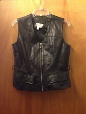 Womens Black Leather Vest With Zipper Lew Magram Collection NY Size S