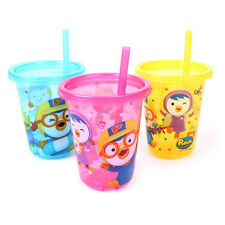 Pororo Straw Cup 3p Set Crong Patty Iced Coffee Juice Party Child Girls Cute