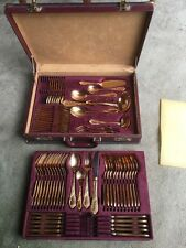70 Piece Gold Plated Cutlery Set 23/24 K Gold 12 Piece Setting In Case Heirloom