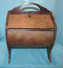 Vintage Wood SEWING BOX STAND table storage 2 Door rounded curved wood