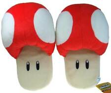 "Nintendo Super Mario Brothers Bros 11"" Red Mushroom Adult Plush Slippers"